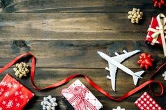 Endecha plana de la Feliz Navidad y Feliz Año Nuevo y cualquier tr holidy Foto de archivo