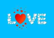 Endecha plana de las letras de amor con los corazones blancos y rojos del papel del vector encendido stock de ilustración