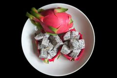 Endecha plana de una fruta del dragón foto de archivo libre de regalías
