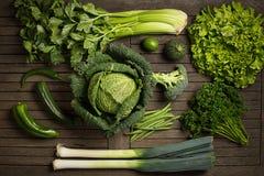 Endecha plana de verduras verdes fotografía de archivo