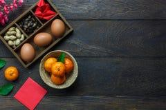 Endecha plana del Año Nuevo chino del arreglo y del concepto lunar del día de fiesta del fondo Fotos de archivo libres de regalías