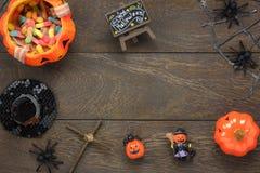 Endecha plana del concepto accesorio del fondo del festival del feliz Halloween de la decoración Fotografía de archivo libre de regalías