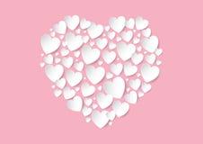 Endecha plana del día de tarjetas del día de San Valentín con los corazones blancos del papel del vector en fondo rosado Imagen de archivo libre de regalías