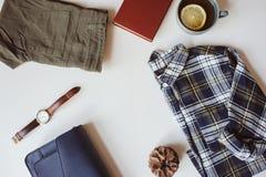 endecha plana determinada de la moda casual de la mujer del verano o del otoño con el espacio de la copia Fotografía de archivo