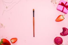 Endecha plana rosada linda, con un cepillo fino del maquillaje en el centro Estilo atractivo fotos de archivo libres de regalías