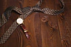 Endecha plana tirada de los accesorios de los hombres Todavía vida 1 Mirada del negocio Foto de archivo