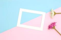 Endecha vacía del plano del marco y de las flores Fotografía de archivo