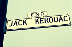 Enden-Jack Kerouac-Straßenschild in San Francisco Stockbild
