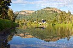 Enderby Cliffs reflecting in Shuswap River, Enderby, British Columbia, Canada Royalty Free Stock Images