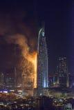 Enderece o hotel do centro, depois que travou no fogo Imagem de Stock Royalty Free