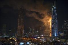 Enderece o hotel do centro, depois que travou no fogo Imagens de Stock