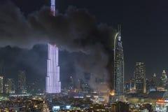 Enderece o hotel do centro, depois que travou no fogo Fotografia de Stock