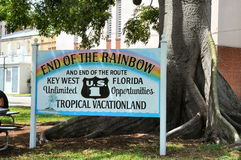 At the endf of The Rainbow. Sign at the ned of Highwaty A1A in Key West Florida Stock Photo