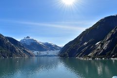 Endicott Arm and the Dawes Glacier. Cruising through Endicott Arm to the Dawes Glacier in Alaska, USA Stock Image