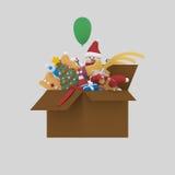 Ending Christmas box. 3D.  Royalty Free Stock Photos