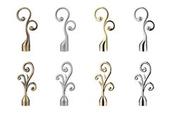 Ending for curtain eaves. Tips for curtain poles on the white background. Ending for curtain eaves. Finials for curtain cornices Stock Images