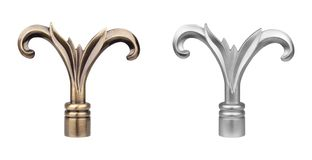 Ending for curtain eaves. Tips for curtain poles on the white background. Ending for curtain eaves. Finials for curtain cornices. Metal curtain eaves and Stock Image