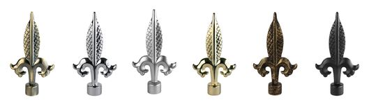 Ending for curtain eaves. Tips for curtain poles on the white background. Ending for curtain eaves. Finials for curtain cornices. Metal curtain eaves and Stock Photos
