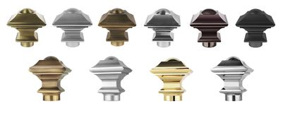 Ending for curtain eaves. Tips for curtain poles on the white background. Ending for curtain eaves. Finials for curtain cornices. Metal curtain eaves and Royalty Free Stock Photos