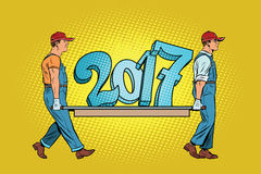 The ending 2017, figures carry movers. Pop art retro vector illustration. Old and New year vector illustration