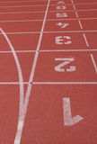 Ending line of runing track. The ending line of running track in stadium Royalty Free Stock Photography