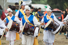 The ending of the traditional Korea farmers show, The farmers dance occurred to celebrate the harvest in Korea. royalty free stock photos