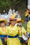 Ending tradycyjni Korea rolnicy pokazuje rolnika taniec zdarzający się świętować żniwo w Korea Zdjęcia Stock