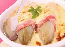 Endive,ham and cheese Stock Photo