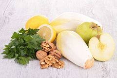 Endive, parsley,walnut and apple Stock Photos