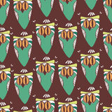 Endless abstract decor pattern. Seamless abstract decor multicolor pattern with owl Royalty Free Stock Image