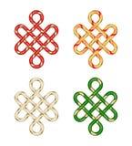 Endless Auspicious Knot. China ornament. Feng Shui element vector illustration