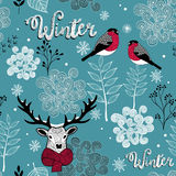 Endless background with deer, birds and winter nature. Stock Photo
