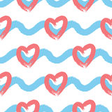 Endless background with horizontal wavy lines and silhouettes of hearts. Seamless pattern. Royalty Free Stock Images