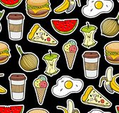 Endless background with icons of food. Royalty Free Stock Image