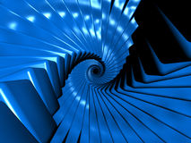 Endless blue cubes in spiral arrangement. Endless specular blue cubes in spiral arrangement Royalty Free Stock Images