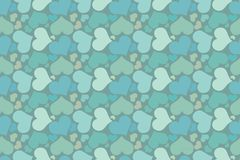 Endless blue romantic simple pattern. Seamless pattern of hearts on a blue background Stock Photos