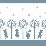 Endless border with leprechauns in winter garden Royalty Free Stock Photography