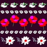 Endless border with funny little birds, leaves, poppies and daisies in vector. Print for fabric.  vector illustration