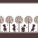 Endless border with leprechauns in fall garden Royalty Free Stock Image