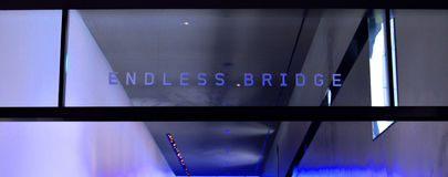 Endless Bridge. Glass etching of the Endless Bridge in the Guthrie Theater royalty free stock images
