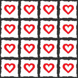 Endless checkered background. The outlines of hearts. Color pattern. Royalty Free Stock Image