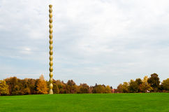 Endless Column made by Romanian artist Constanti. N Brancusi in a autumn day stock image