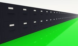 Endless data base black on green 01. 3D filing cabinets on green ground royalty free illustration