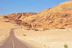 Endless Desert Road with Mountains. Royalty Free Stock Photography