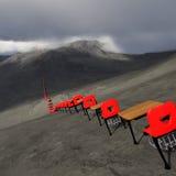 Endless desks. Endless row of red school desks - learning curve royalty free illustration