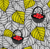 Endless doodle background with autumn leaves and baskets of fresh berries. Vector seamless wallpaper Stock Image