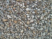 Endless dry sea pebbles, texture, background. Pebbles gray, small, oval. stock image