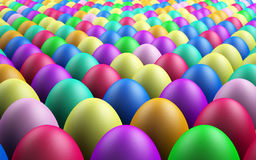 Endless Easter Eggs. Infinite Rows of 3D Rendered Easter Eggs Fading Into The Background Royalty Free Stock Image