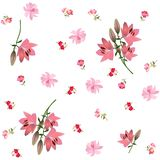 Endless floral print for fabric with large pink lilies, gentle cosmos flowers and small roses isolated on white background royalty free illustration