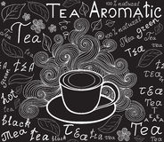 Endless food and drink texture with tea cup, tea leaves and words tea, handwritten by chalk on grey board, vector Stock Photography